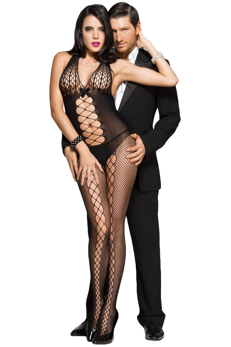 Black Honeycomb Accent Daring Sheer Bodystocking - GHA Discount