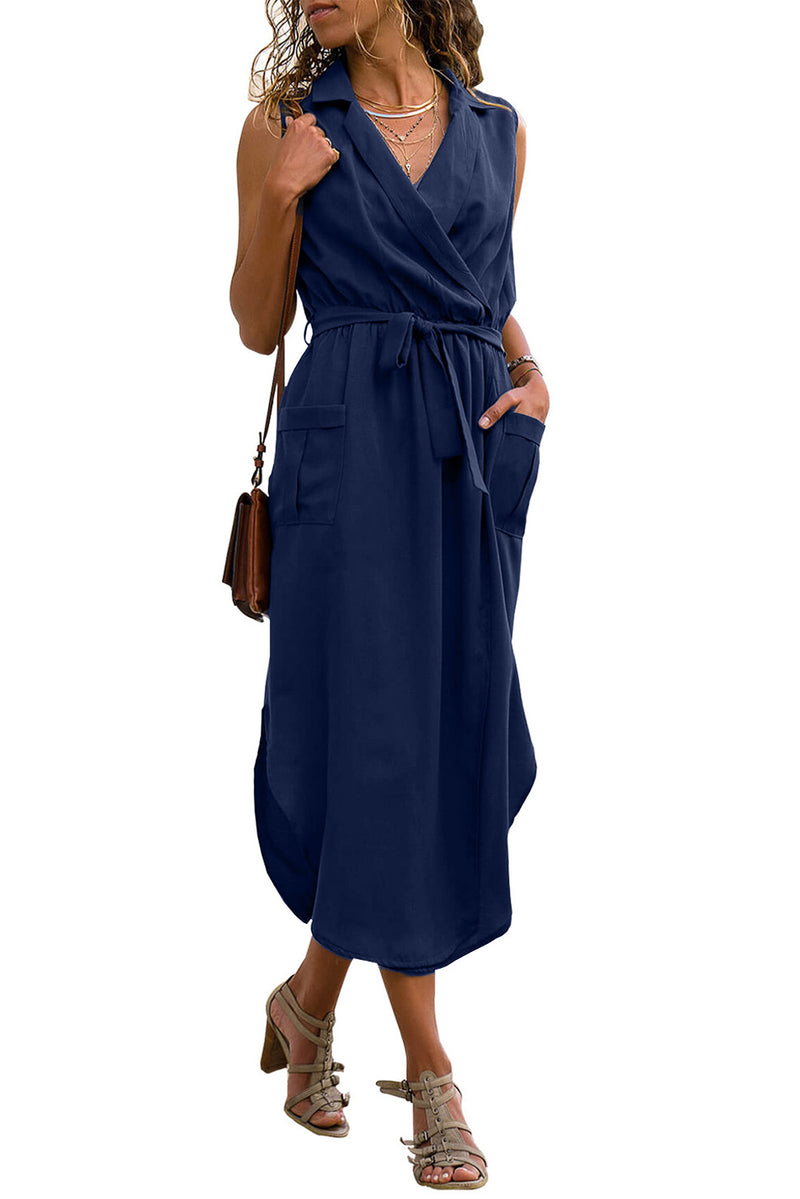 Blue Sleeveless Shirt Long Dress with Pockets - GHA Discount