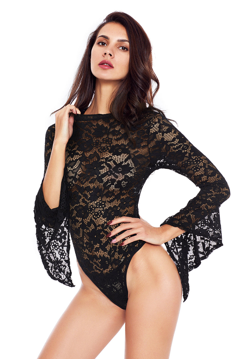 Black Sheer Floral Lace Long Bell Sleeve Bodysuit - GHA Discount