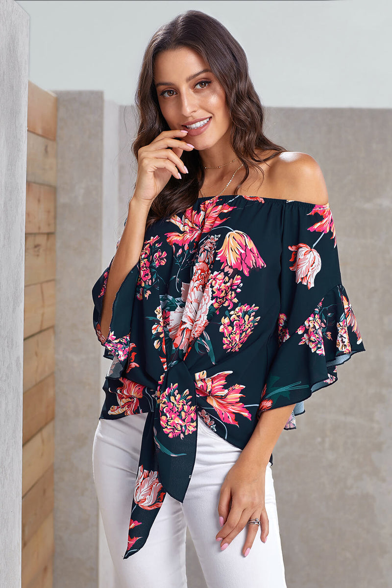 Blue Off Shoulder Floral Tie Front High Low Chiffon Blouse - GHA Discount