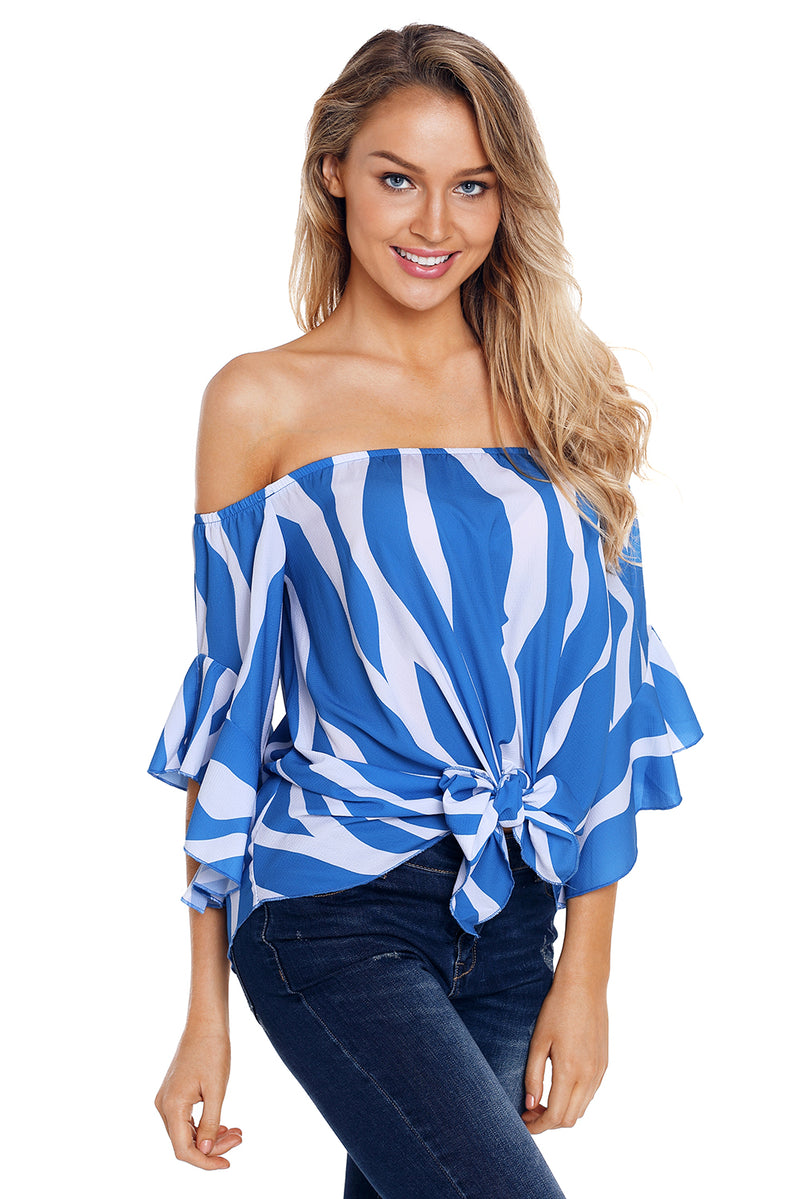 Off The Shoulder Vertical Stripes Blouse in Blue - GHA Discount
