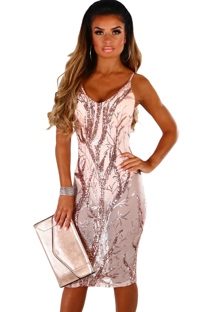Pink Sheer Sequined Midi Bodysuit Dress - GHA Discount