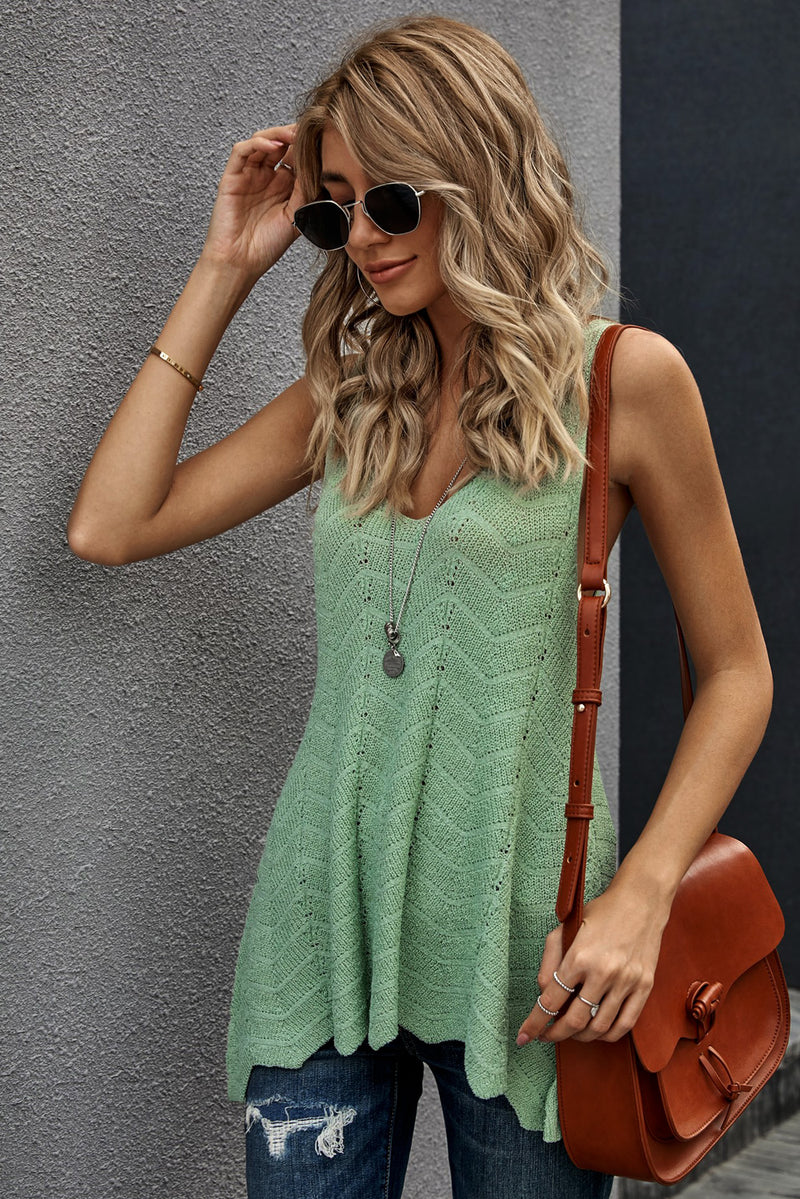 Green Flowy Scalloped Hemline Knit Tank Top - GHA Discount