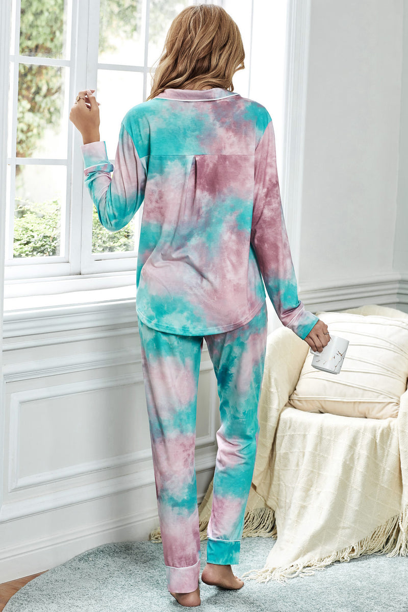 Multicolor Tie-dye Long Sleeve Shirt with Pants Pajamas Set - GHA Discount