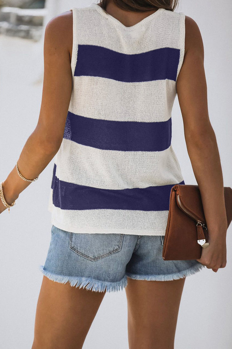 Blue Striped V-Neck Knit Tank - GHA Discount