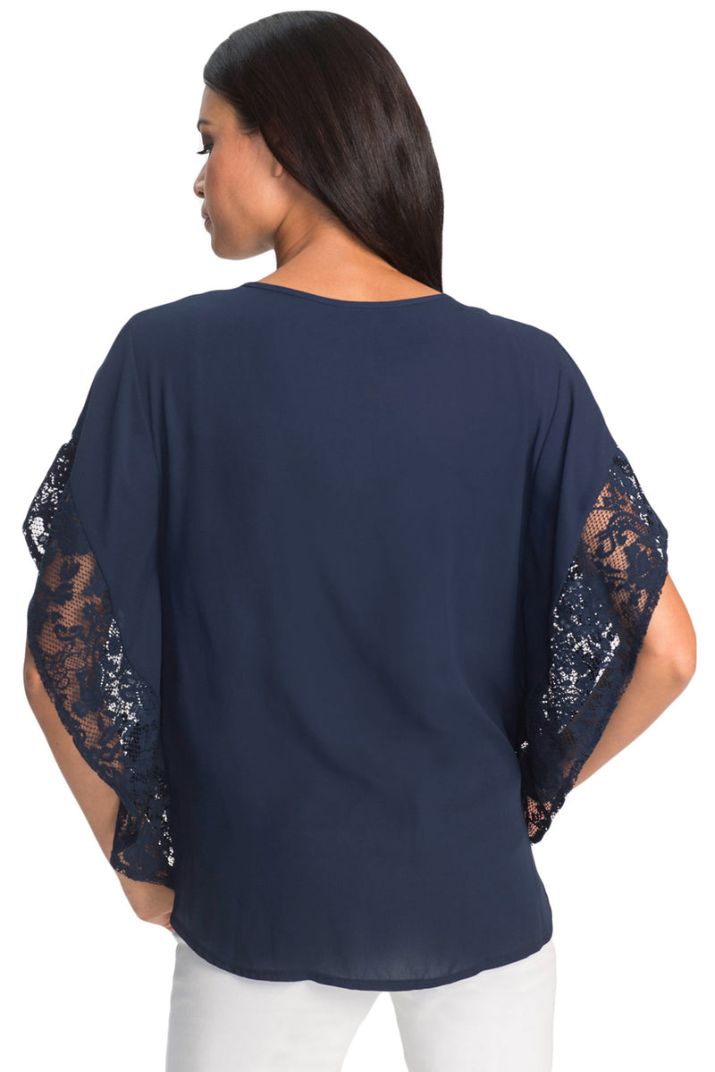 Splice Sleeve Chiffon Blouse - GHA Discount