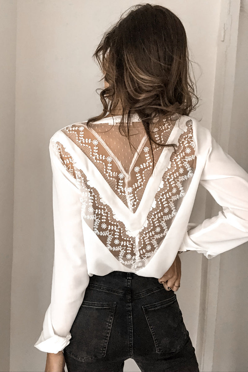 White Patchwork Lace Cut out Backless V Neck Shirt - GHA Discount