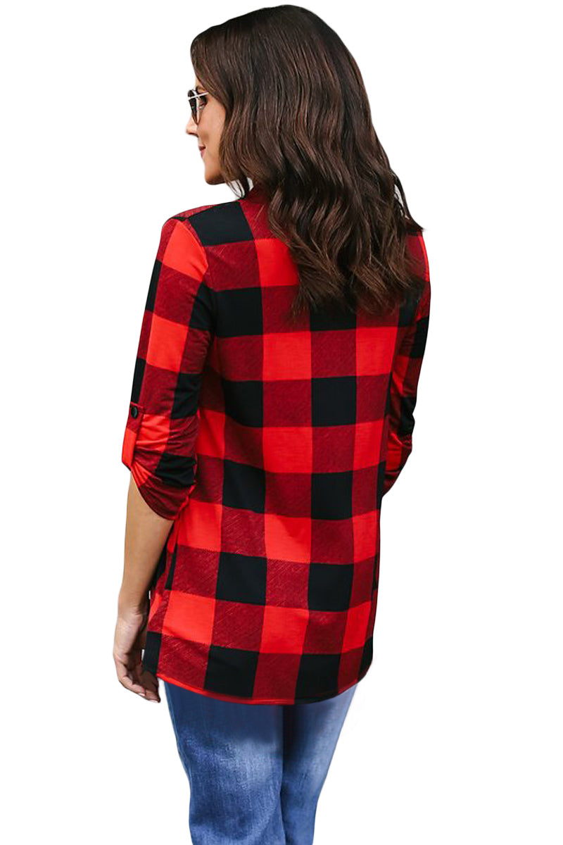 Red Black Tricolor Plaid V Neck Blouse - GHA Discount