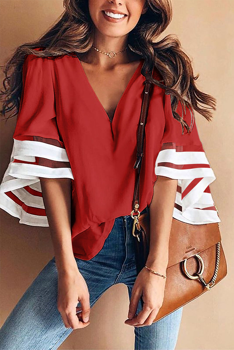 Flare Sleeve V Neck Loose Blouse - GHA Discount