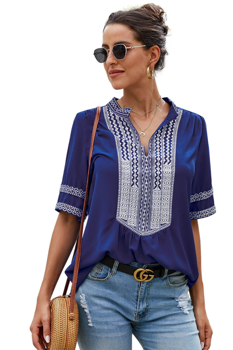 Blue Elbow Length Sleeves Front Embroidery Blouse - GHA Discount