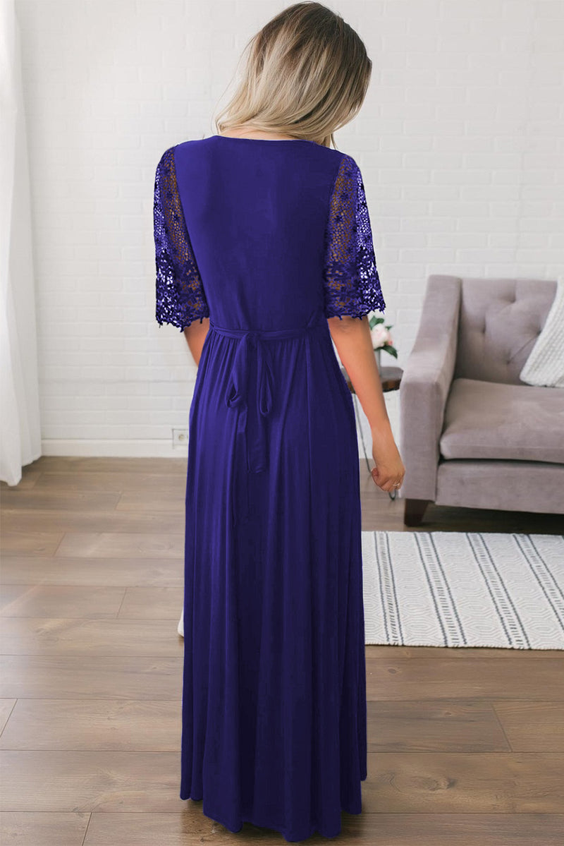 Dark Blue Floral Lace Half Sleeve Wrap V Neck Party Long Maxi Dress - GHA Discount