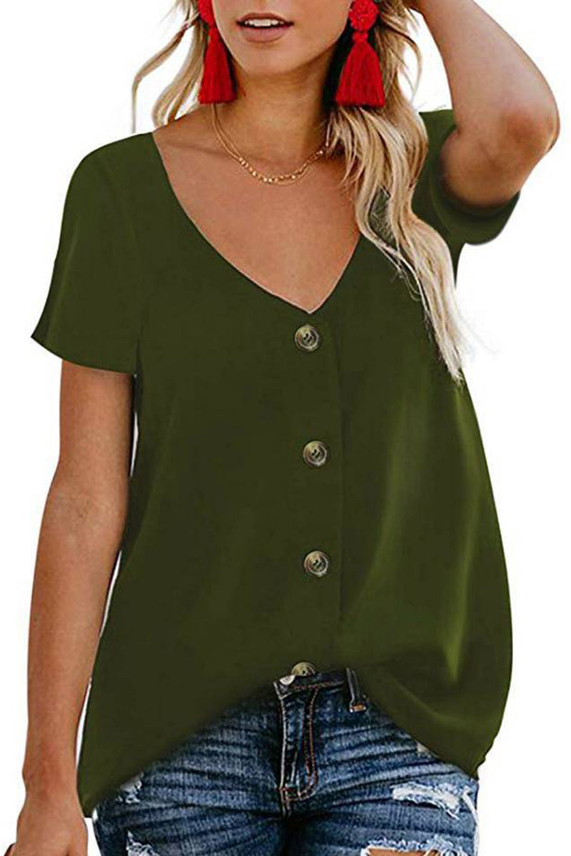 Short Sleeve V Neck Blouse - GHA Discount
