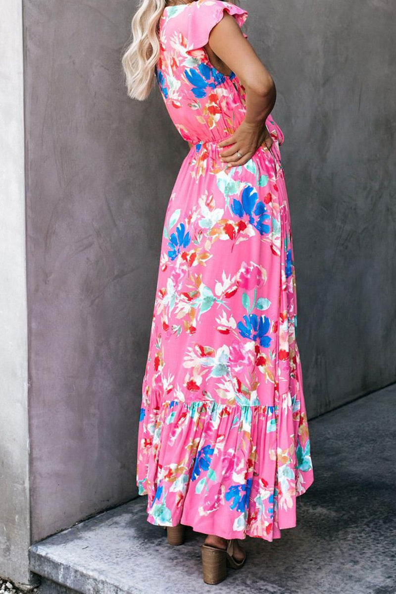 Rose Floral High Low Pocketed Tie Maxi Dress - GHA Discount