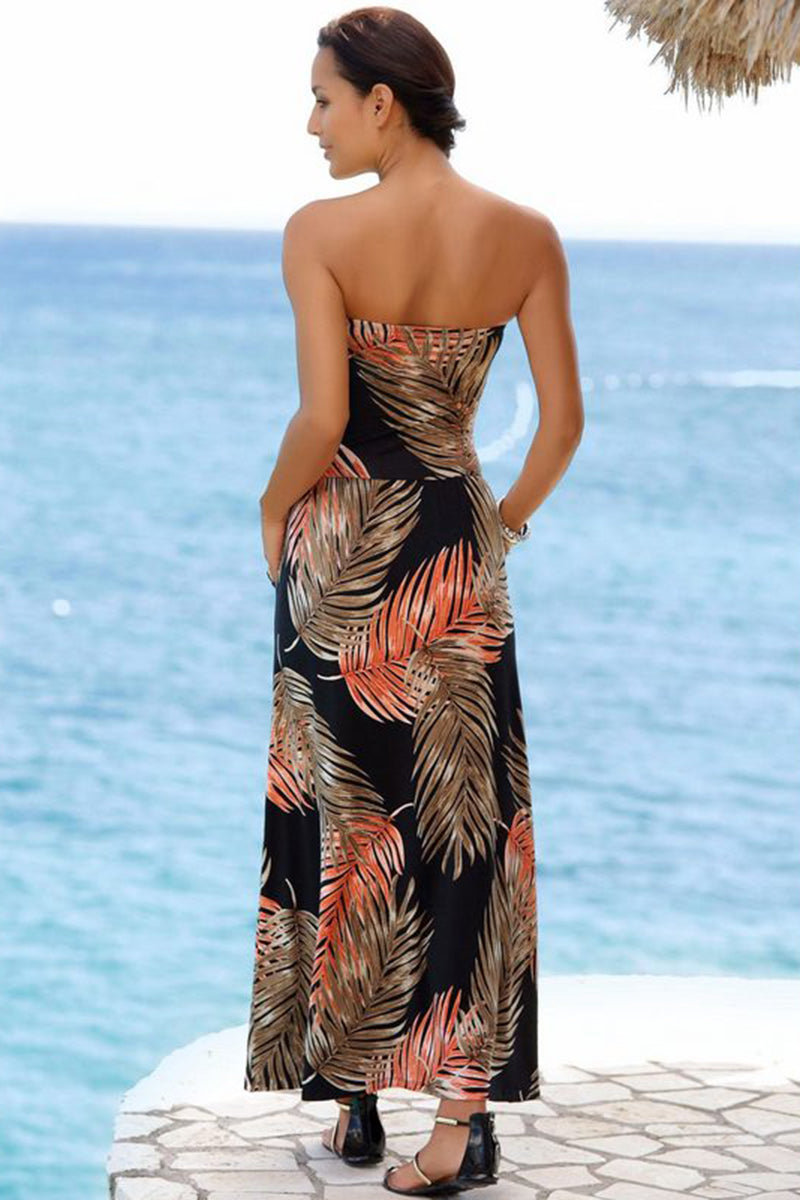Orange Bohemian Bandeau Floral Print Maxi Dress - GHA Discount