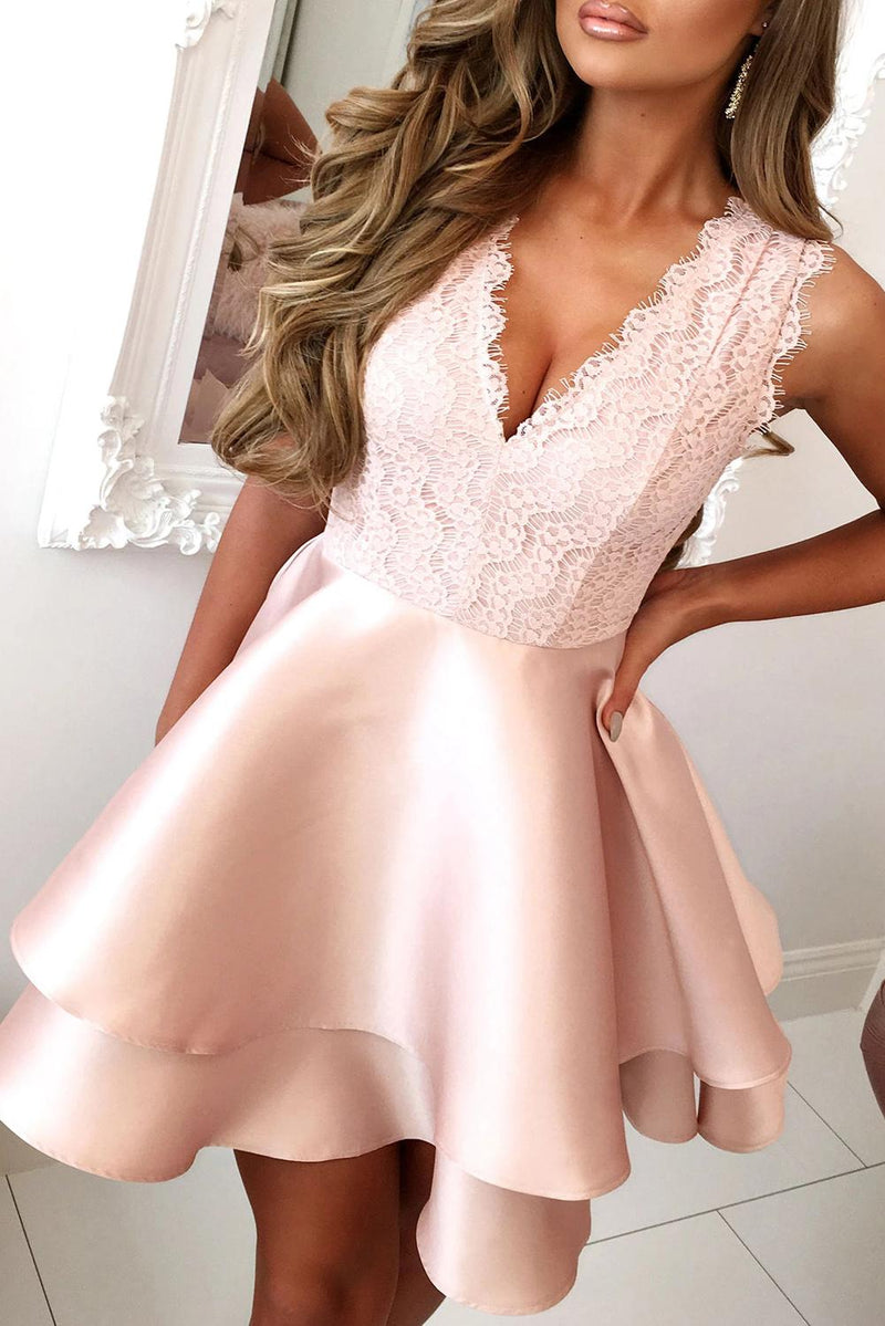 Pink Scalloped V Neck Double-layer Skater Mini Dress - GHA Discount