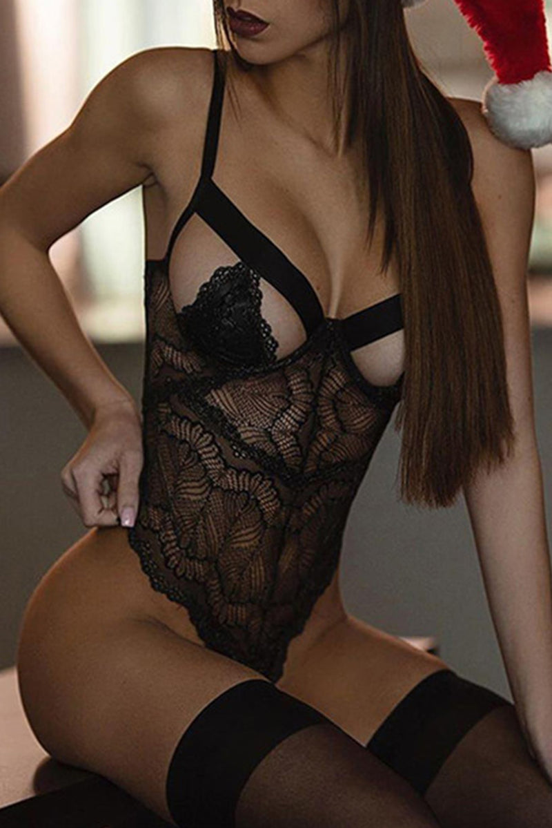 Black Lace Cut out Teddy - GHA Discount