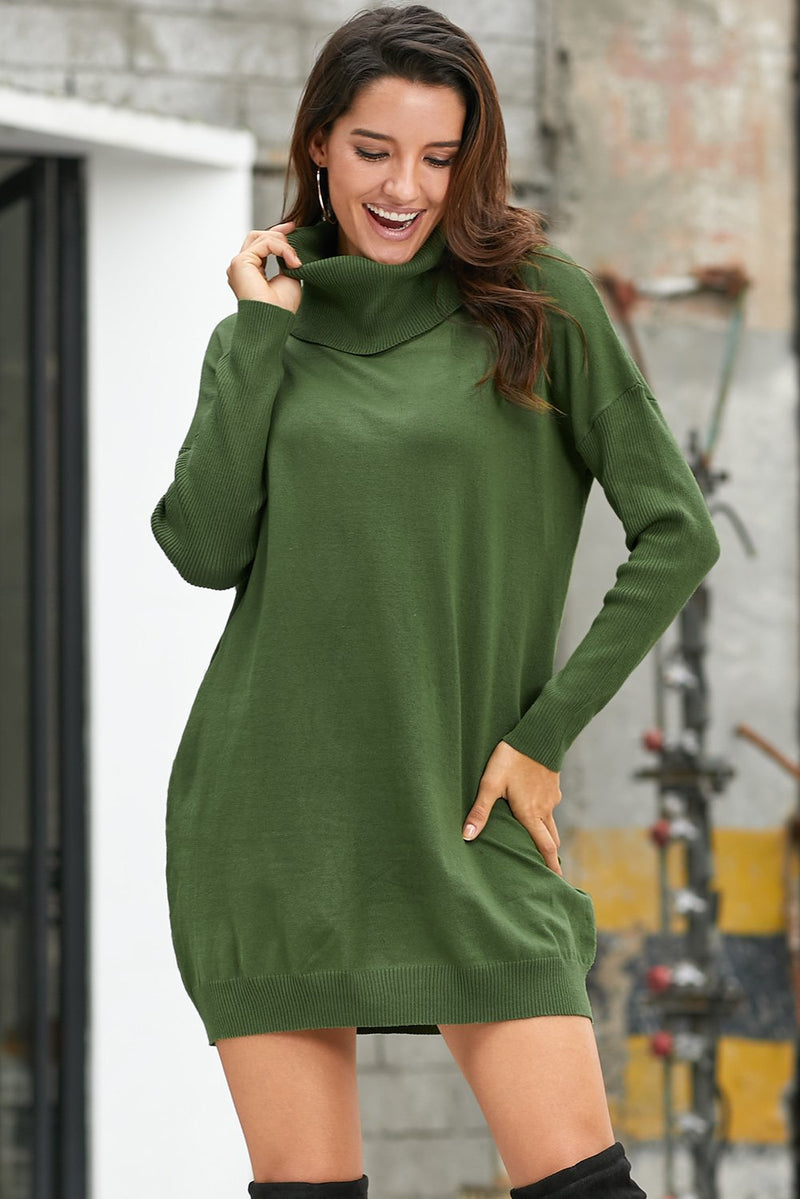 Army Green Ribbed Cowl Neck Lightweight Sweater Dress - GHA Discount