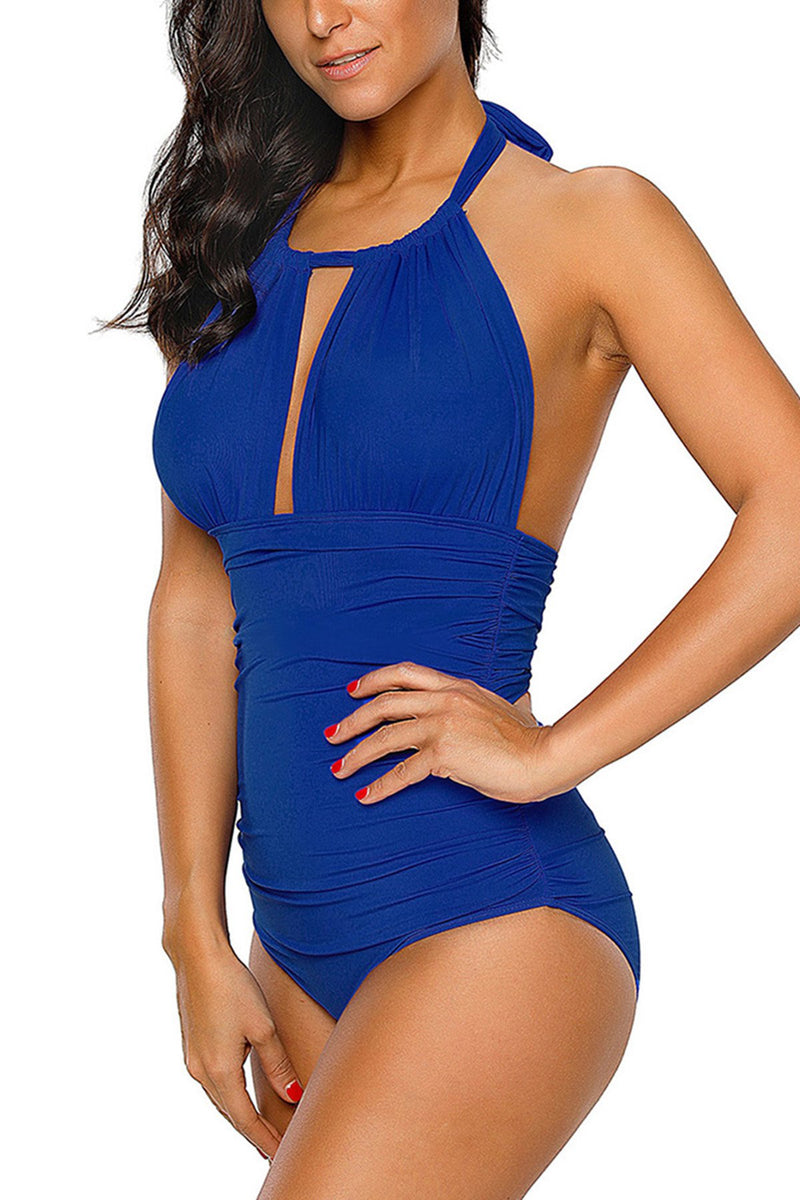 Blue High Neck Halter One Piece Swimsuit