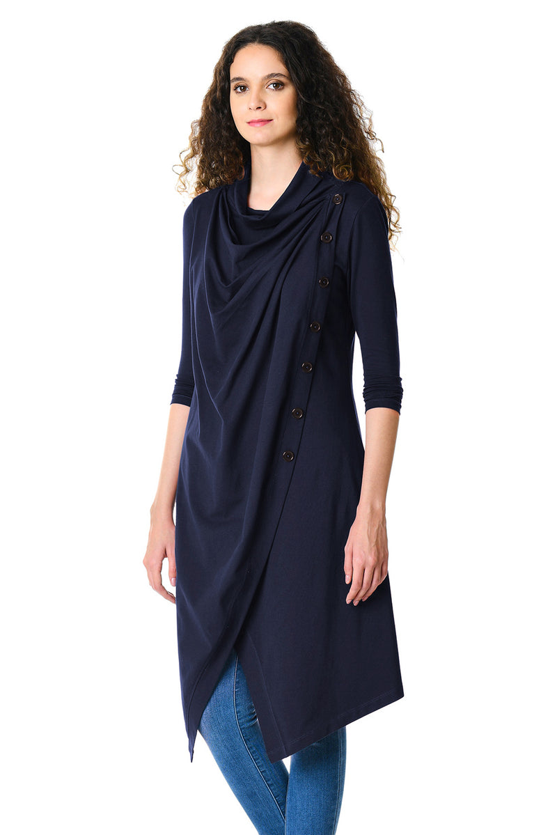 Navy Blue Cowl Neck Asymmetric Wrap Long Tunic - GHA Discount