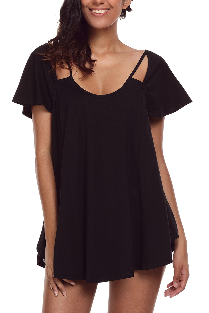 Cold Shoulder Flowy Top - GHA Discount