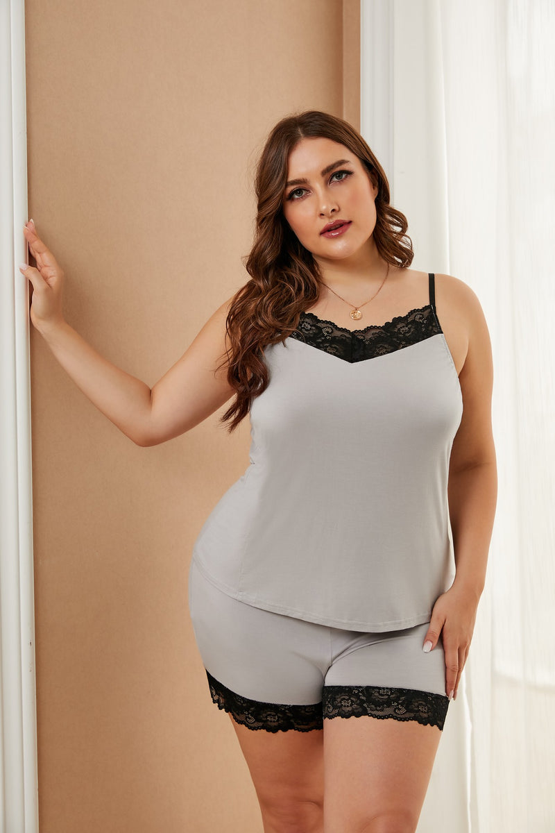 Gray Plus Size Pajamas Set with Lace Trim - GHA Discount