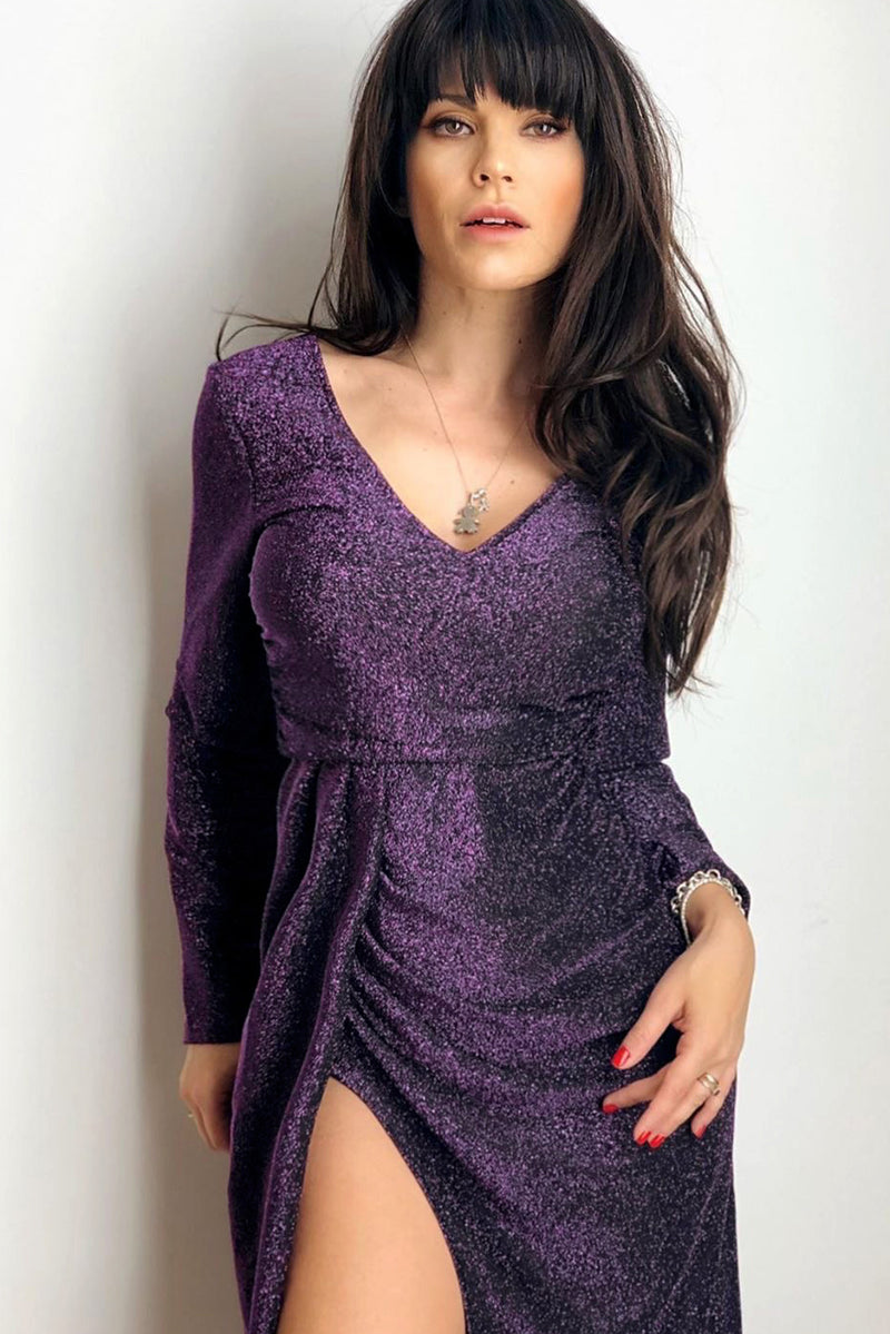 Purple Glitter Ruched Thigh Slit Party Metallic Dress - GHA Discount
