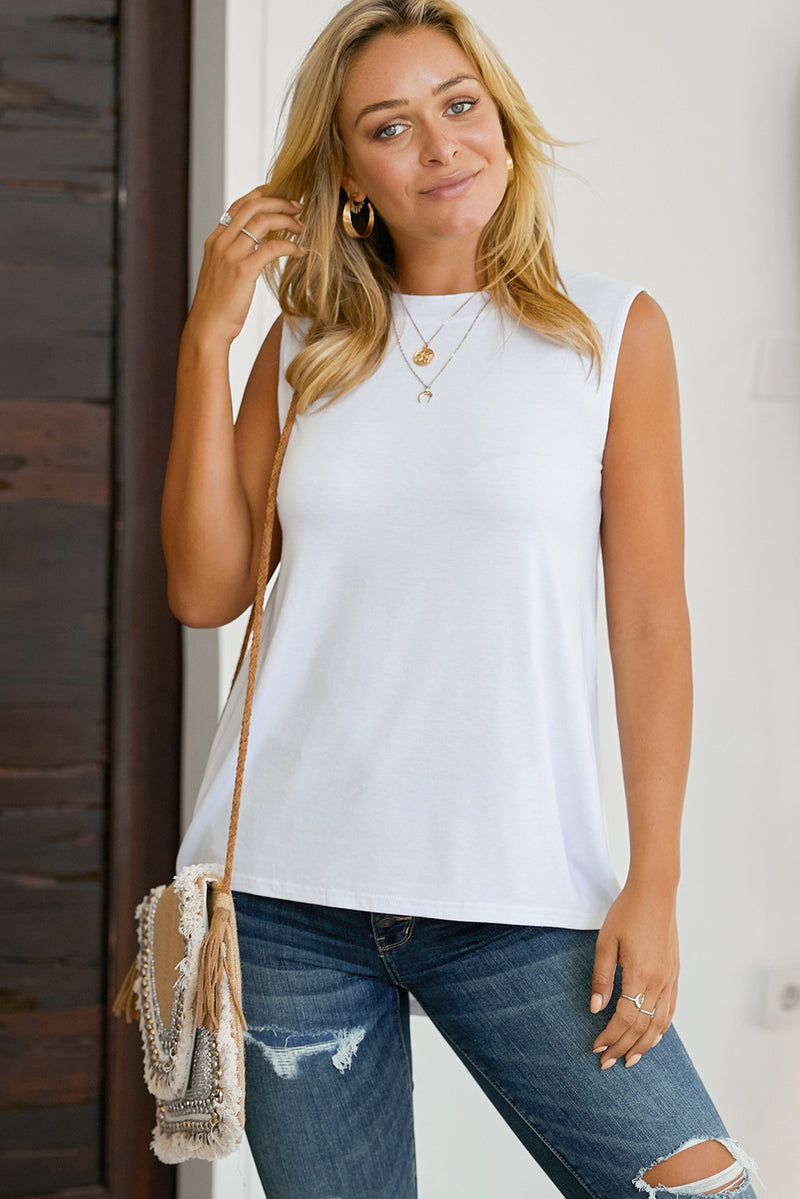 White When In Doubt Relaxed Tank Top - GHA Discount