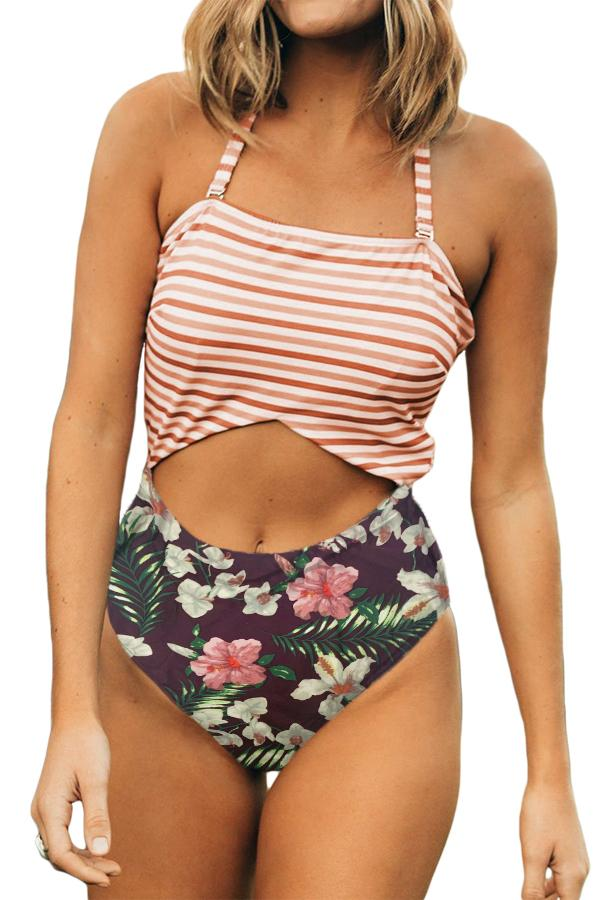 Green Floral Print Patchwork Stripes One-piece Swimsuit - GHA Discount