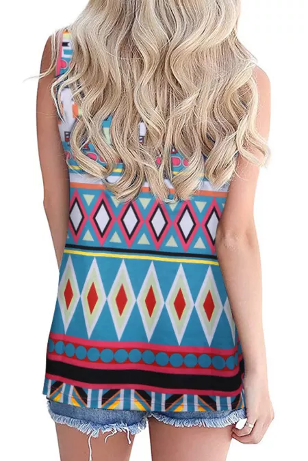 Multicolor Boho Print Tank Top with Pocket - GHA Discount