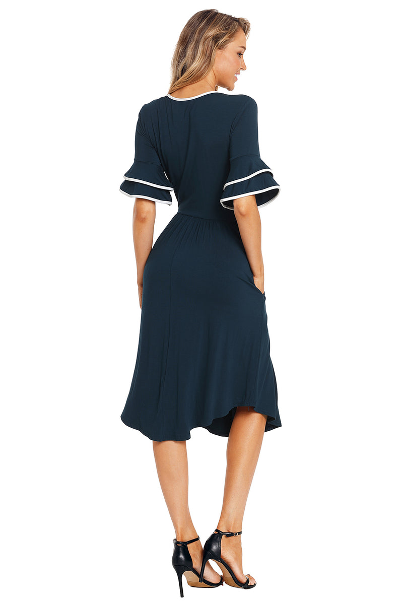 Slate Blue Layered Bell Sleeve Dress - GHA Discount