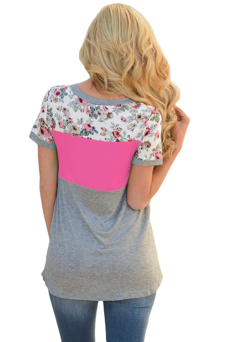 Floral Print Rosy Gray Colorblock T-shirt - GHA Discount