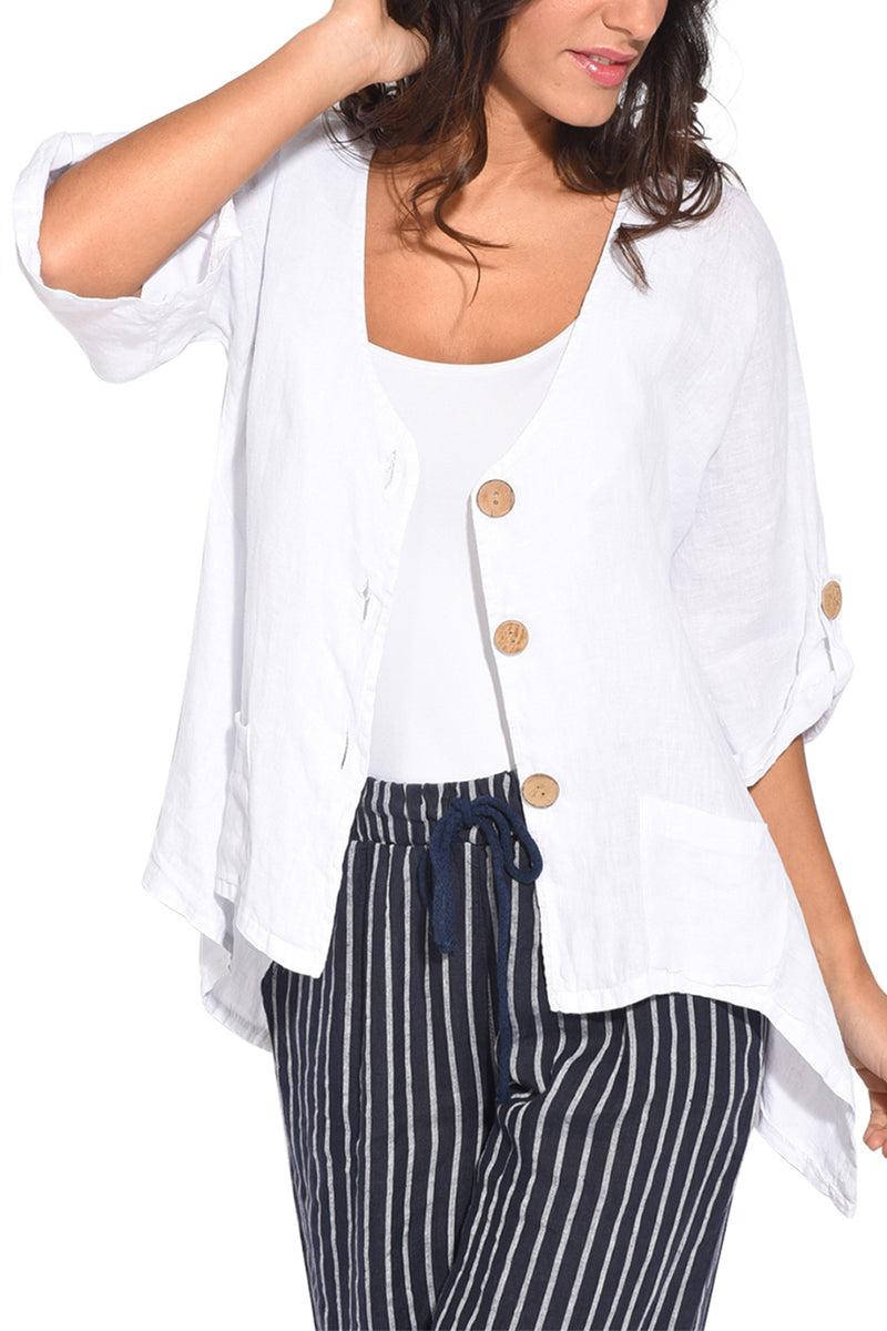 White Roll Tab Sleeve Button Front Casual Shirt - GHA Discount