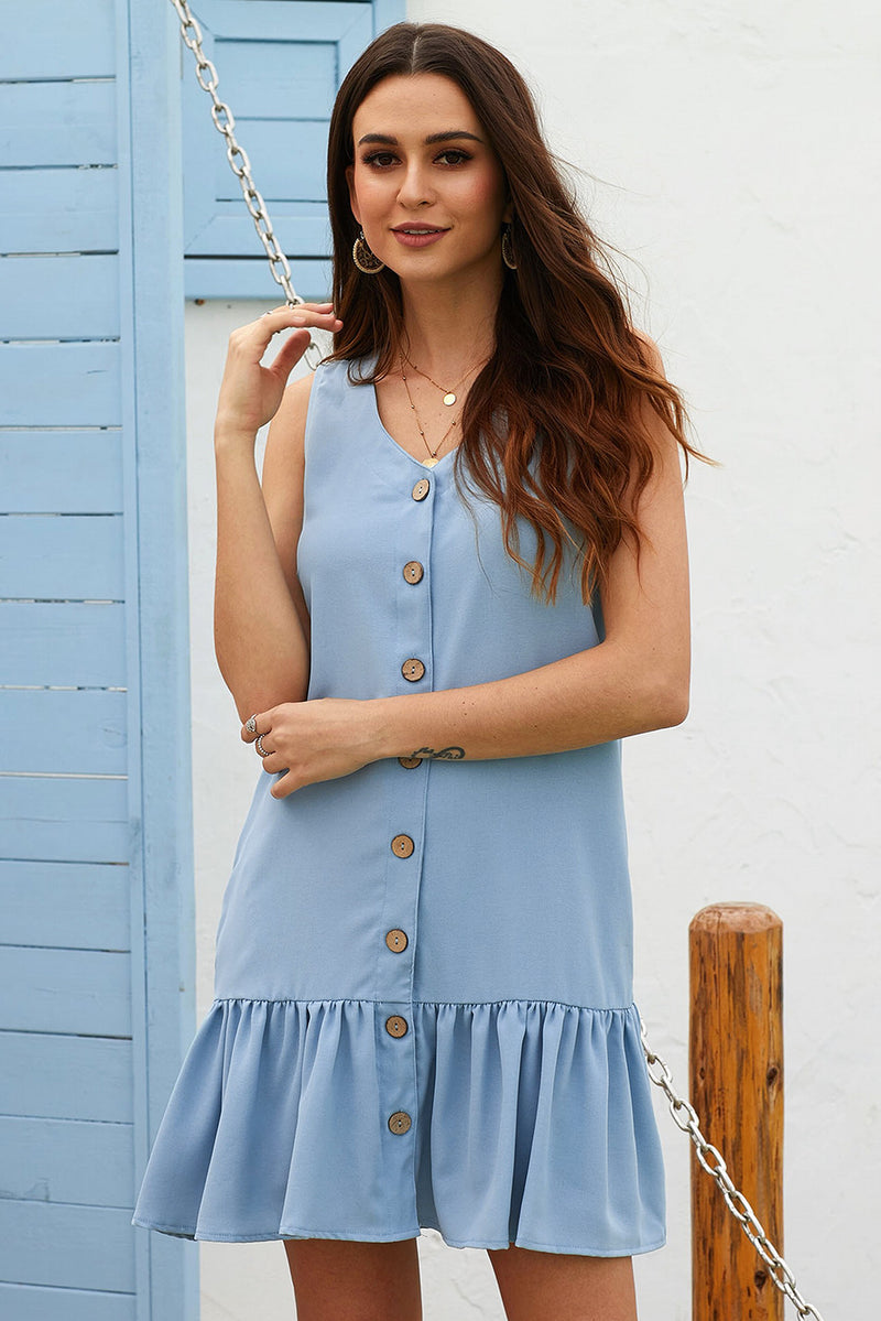 Sage Blue Pocketed Button Down Tank Dress - GHA Discount