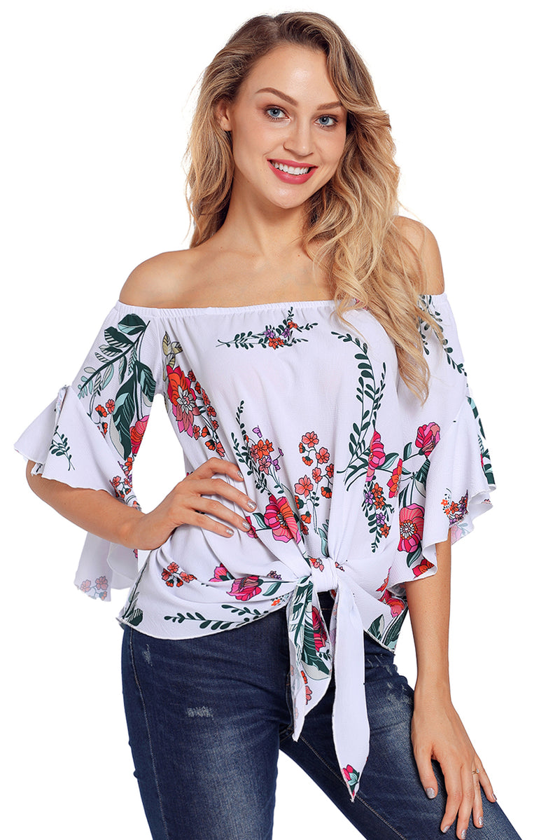 Floral Tie Front Off The Shoulder Top - GHA Discount