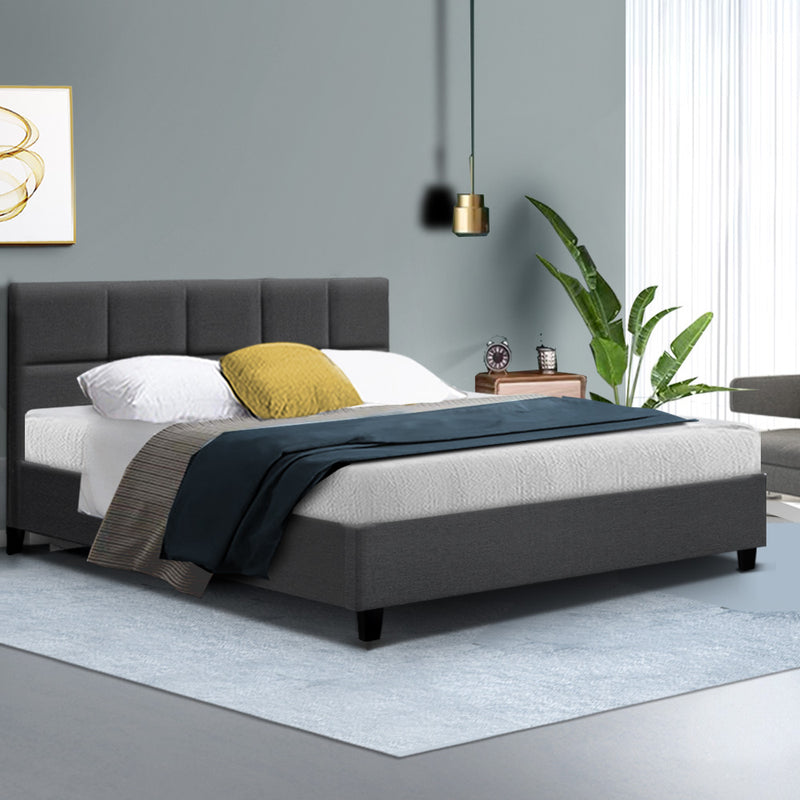 Bed Frame Queen Size Base Mattress Platform Fabric Wooden Charcoal TINO