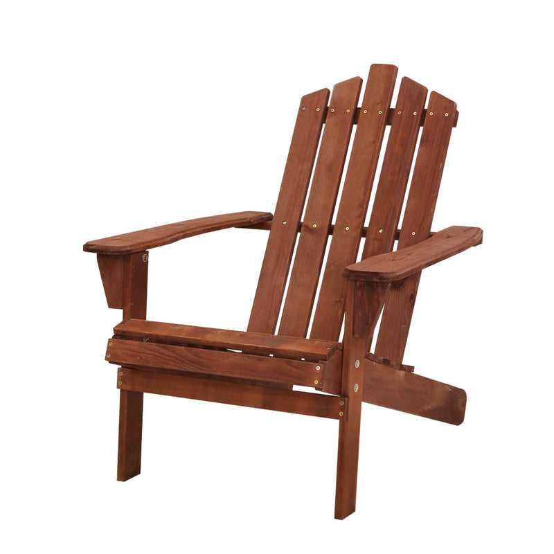 Gardeon Outdoor Sun Lounge Beach Chairs Table Setting Wooden Adirondack Patio Brown Chair