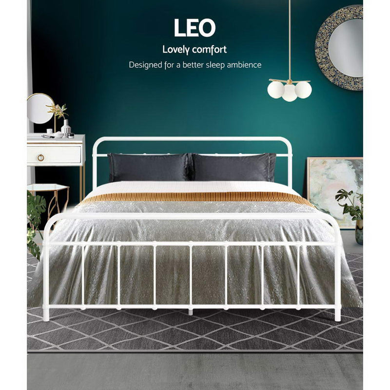 Metal Bed Frame Queen Size Platform Foundation Mattress Base Leo White