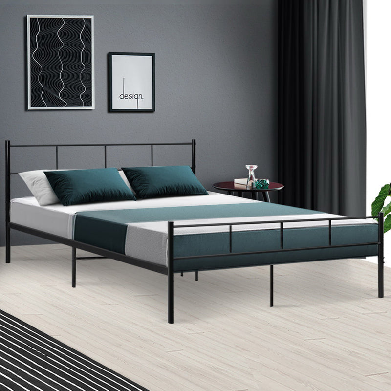 Metal Bed Frame Queen Size Platform Foundation Mattress Base SOL Black