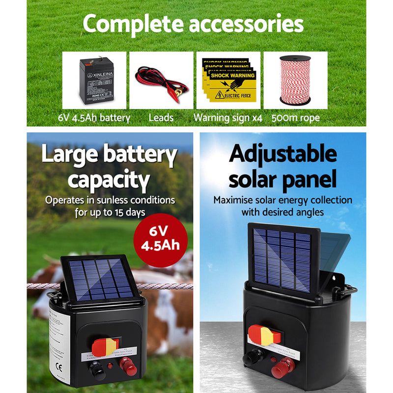 Giantz Electric Fence Energiser 3km Solar Powered Energizer Charger + 500m Tape