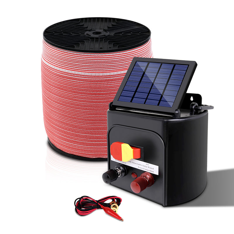 Giantz Electric Fence Energiser 5km Solar Power Charger Set + 2000m Tape