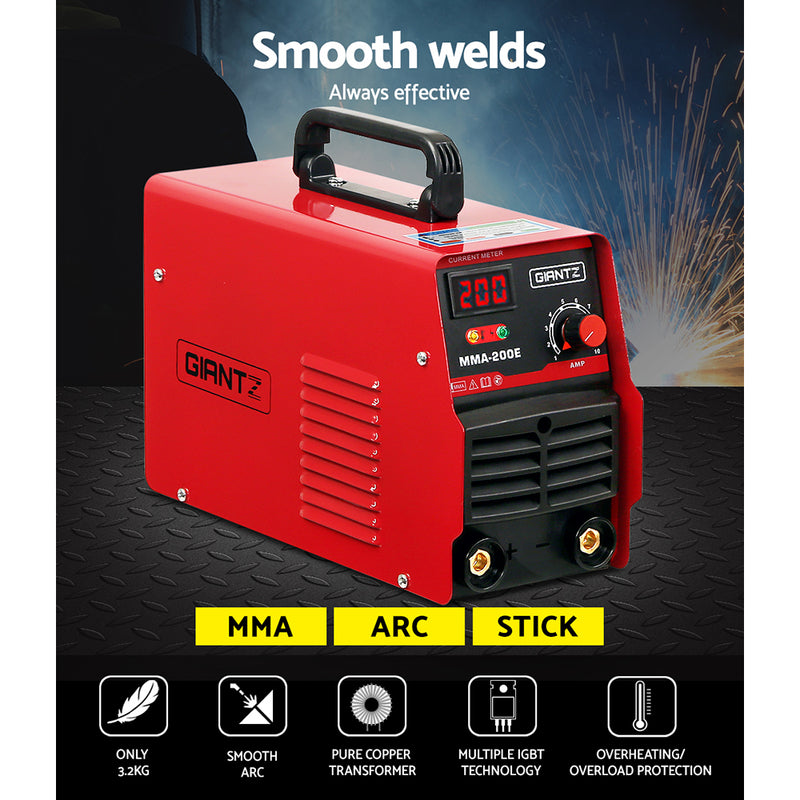 Giantz 200 Amp Inverter Welder MMA ARC DC IGBT Welding Machine Stick Portable