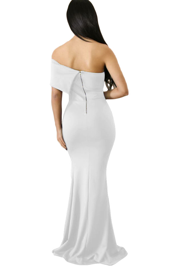 White Off The Shoulder One Sleeve Slit Maxi Party Prom Dress - GHA Discount