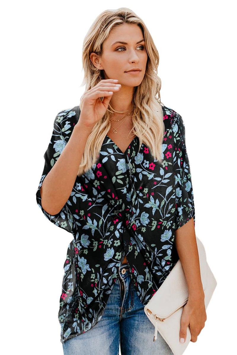 Amaryllis Floral Twist Top - GHA Discount