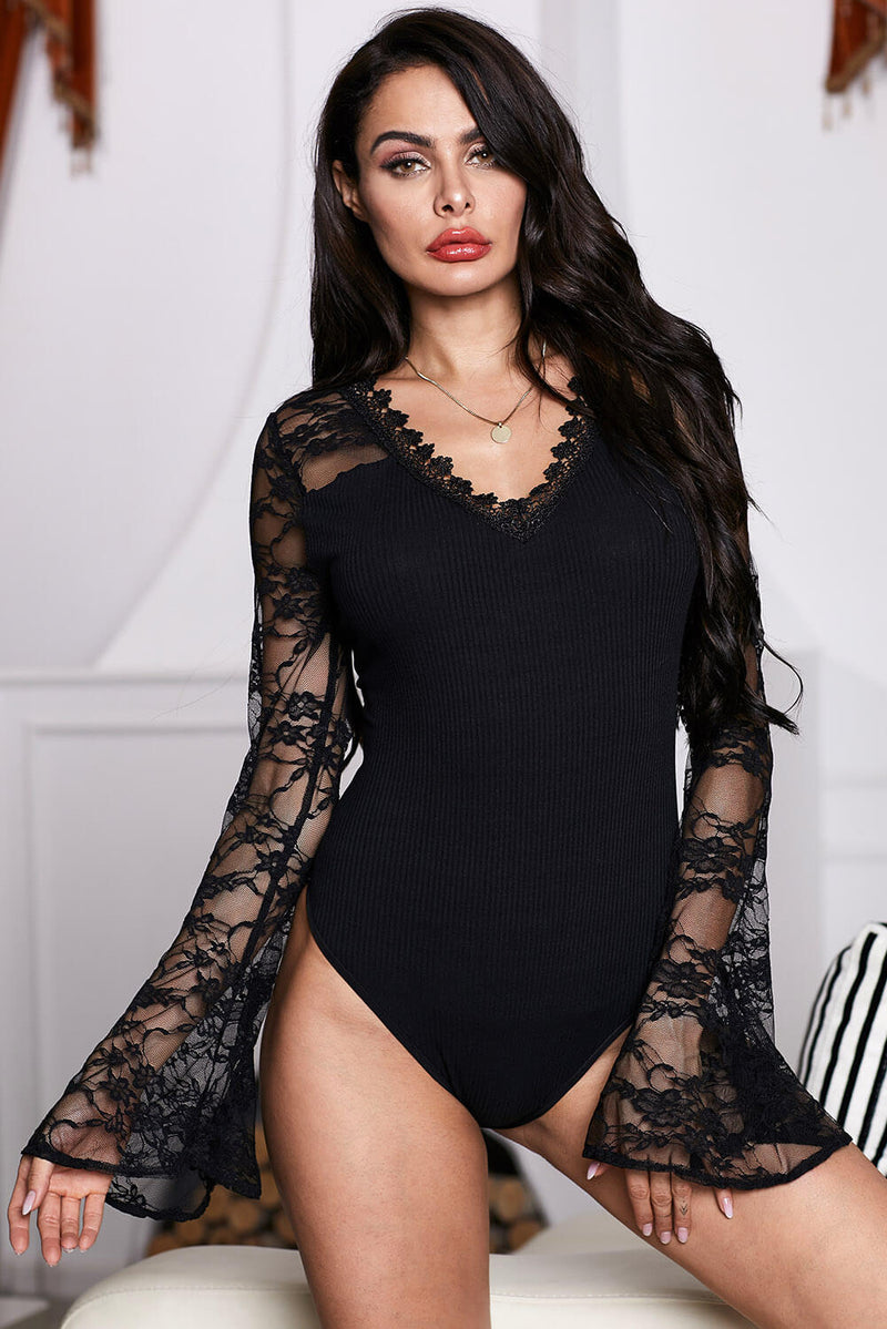 Flare Lace Sleeve Ribbed Bodysuit - GHA Discount