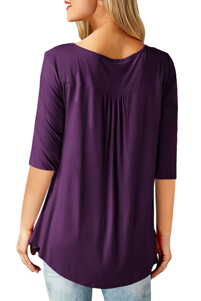Purple 3/4 Sleeve Button Detail Pleated Tunic - GHA Discount