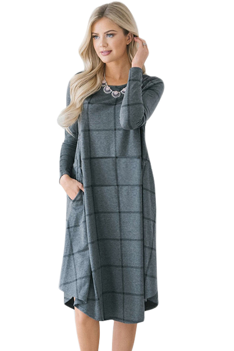 Charcoal Checked Long Sleeve Casual Midi Dress - GHA Discount