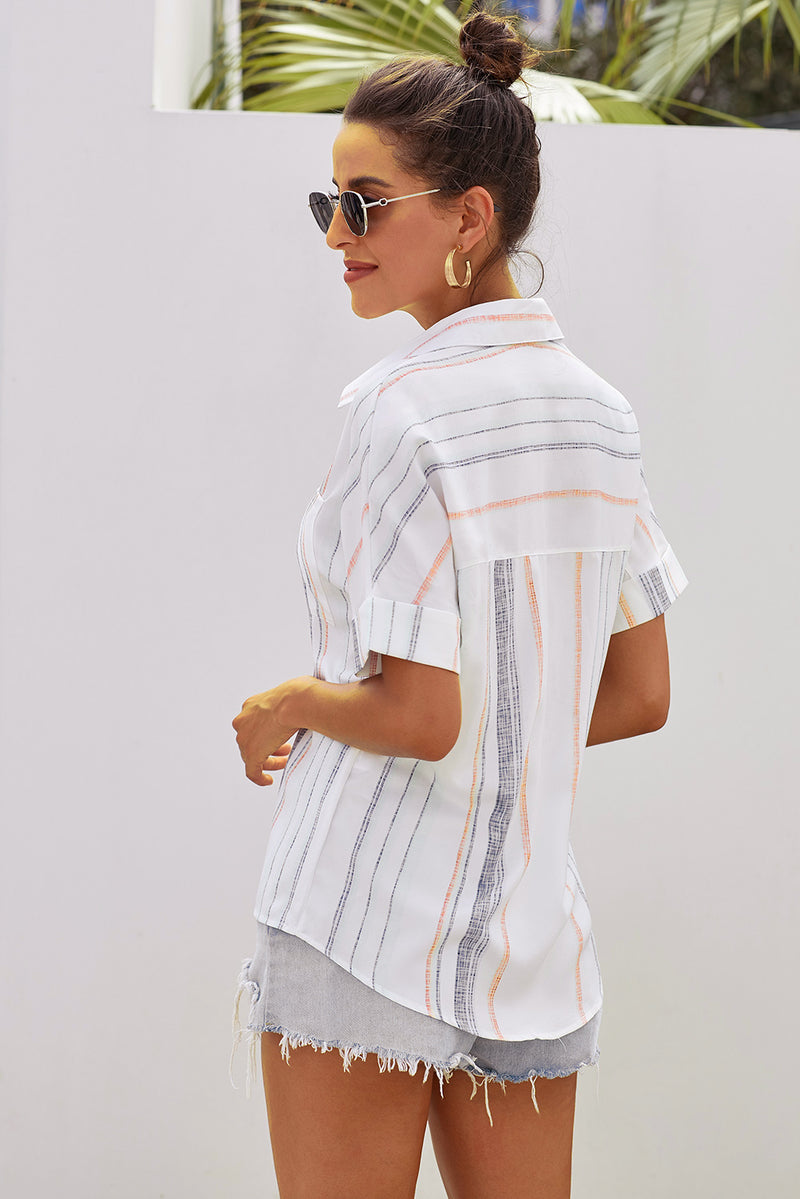 Stripes Roll up Sleeve Button Down Shirt - GHA Discount