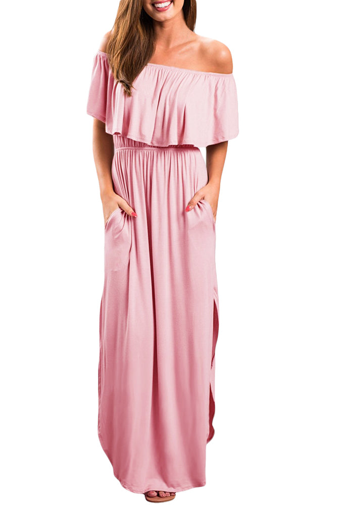 Pink Flounce Off Shoulder Maxi Jersey Dress - GHA Discount
