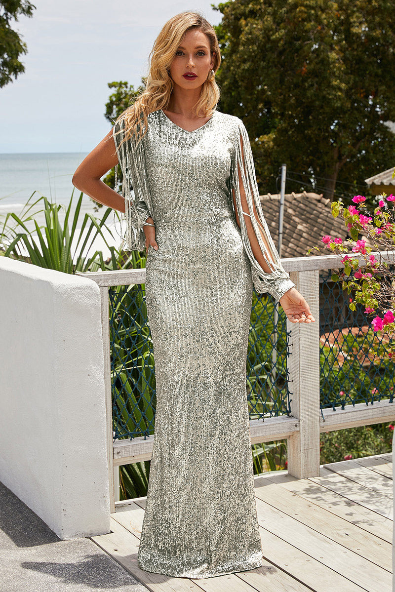 Silver Sequin Fringe Sleeve Party Maxi Evening Dress - GHA Discount
