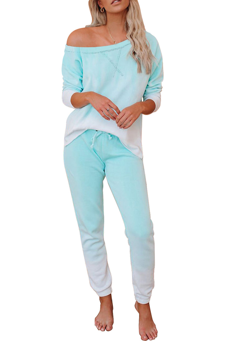 Green Cotton Blend Pocket Tie-dye Loungewear Set - GHA Discount